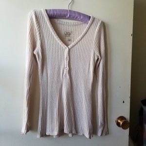 Cream Waffle Knit Top with Front Buttons Size S